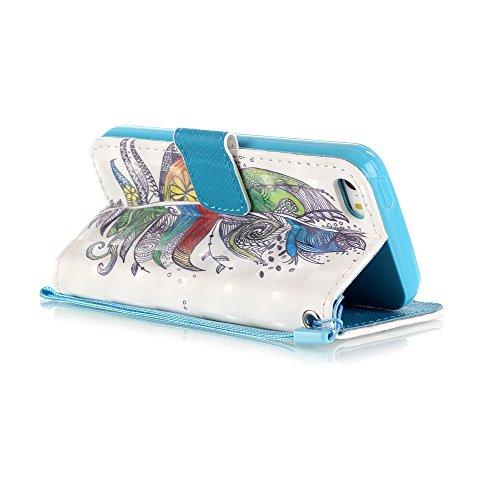 Coque pour Apple iphone 6/6s 4.7 pouces, Belle Dessin Case Etui Housse avec fentes pour cartes pour iphone 6, Fermeture Magnetique Portefeuille Wallet Shell Protectrice Protection Cas étui Couverture  Plumes Colorées