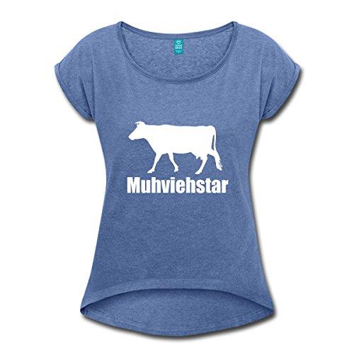 tar Landwirt Milchvieh Kuh Frauen T-Shirt mit Gerollten Ärmeln, S, Denim Meliert (Movie-star-frauen)
