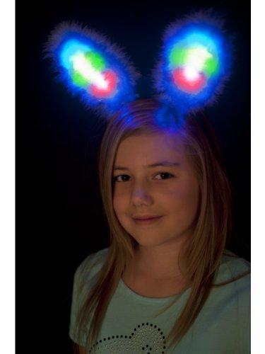Smiffys Kinder Mädchen Leuchtende Hasen Ohren, One Size, Blau, 26906