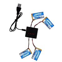 4PCS 3.7V 400mAh Li-po Battery For Hubsan x4 107c 107d 107l H107P H108 JJRC H31 UDI U816A Walkera RC Quadcopter Drone With 4 in 1 Battery Charger