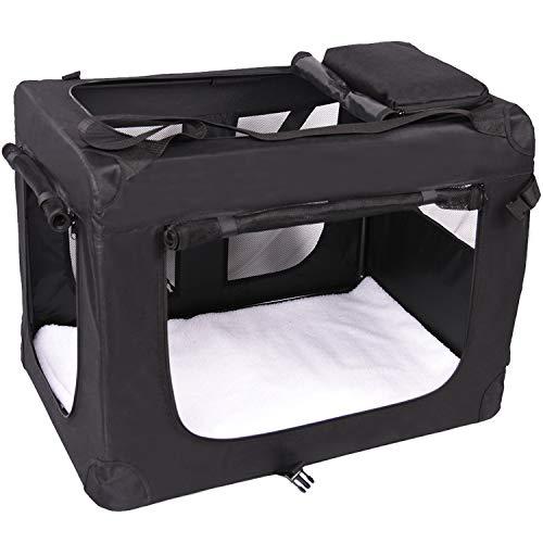 Wellhome Tragbare Hundebox Faltbare Transportbox aus Oxford Gewebe Wasserabweisend für Haustiere M: 60x42x42cm Schwarz