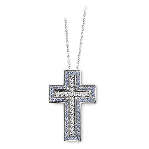 Sterling Silver dicembre CZ Birthstone Messaggio della collana 18in Croce