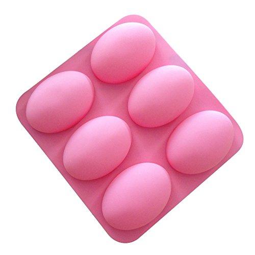 Cutogain 6 Slots 3D Oval Shape Silicone Soap Mould Handmade Jelly Maker Cake Mold Tool