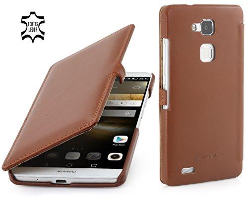 StilGut - Book Type Case mit Clip, Hülle aus Leder geeignet für Huawei Ascend Mate 7, Cognac