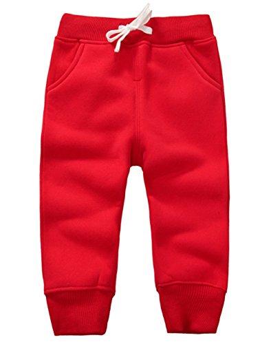 DELEY Unisex Baby Jungen Mädchen Hosen Kinder Jogginghose Baumwolle Fleece Elastische Taille Sweathosen Winter Pants Größe 24 Monate Rot (Halloween-fleece-stoff)
