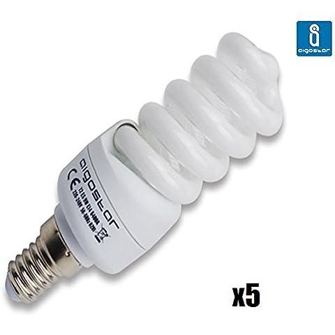 Pack de 5 Bombillas T2, 9W, forma espiral, casquillo fino E14, 400 lumen, luz blanca 6400K