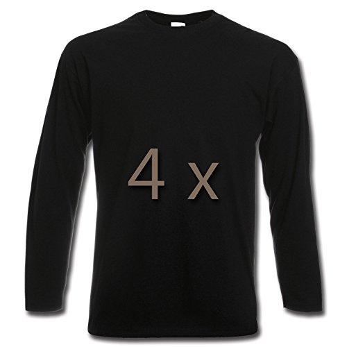 4 Fruit of the Loom T Shirt Longsleeve M L XL XXL Langarm verschiedene Farbsets auswählbar Schwarz