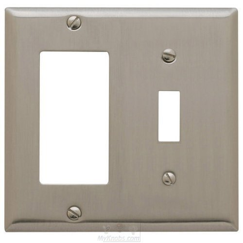 Baldwin 4743 Beveled Edge GFCI/Single Toggle Combo Solid Brass Switch plate, Satin Nickel by Baldwin -