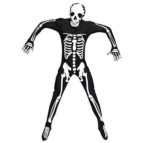 Herren Halloween Kostüme Skelett All Jumpsuit Overall Karnevalskostüme Schwarz L (Halloween Kostüme Herkunft)