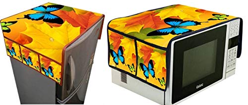 BLUEDOT Jute Combo of Fridge Top and Microwave Oven Covers with 4 Utility Pockets (Free Size) (Yellow Butterfly)