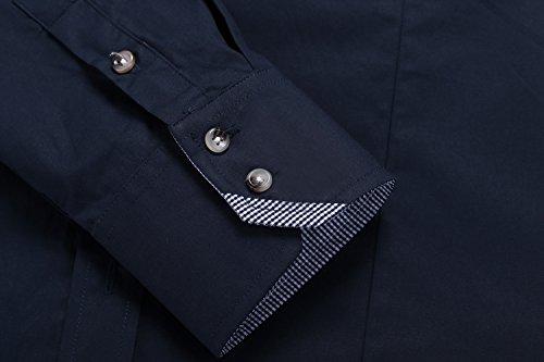 Hasuit Herren Hemd Baumwolle Slim Fit Langarm Farbekombination Basic Mode Blau