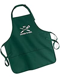 "BBQ Apron - ""Licensed to Grill"" Apron which can be personalised with a name. Please state the name required in the gift message box"
