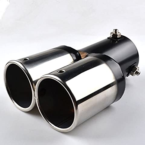 RunQiao Car Universal Stainless Steel Twin Dual Exhaust Tips Tail Pipe Muffler Trim Silencer, 62mm, Sliver &