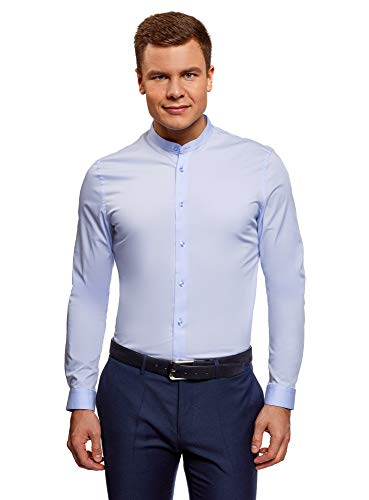 oodji Ultra Uomo Camicia Slim Fit con Collo alla Coreana Blu 42 / IT 50 / EU 42 / L