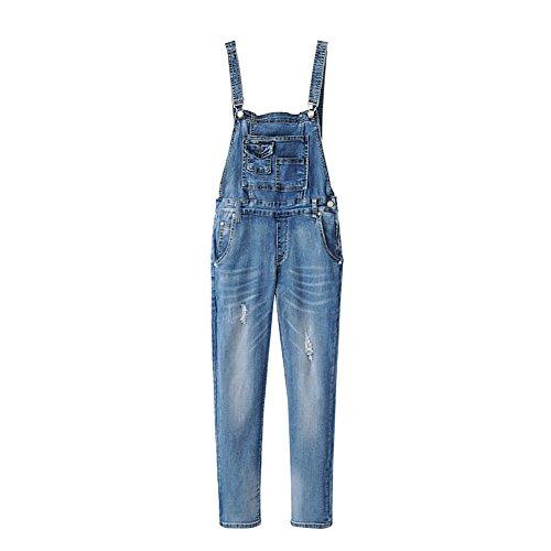 iBaste Jeans Latzhosen für Damen Overall Denim Jeans damen Hose Bootcut Jeanshosen-GY-L