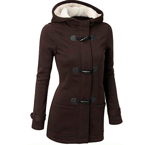 Koly _Adatti a donne Windbreaker Jacket calda lana di trincea sottile Caffè