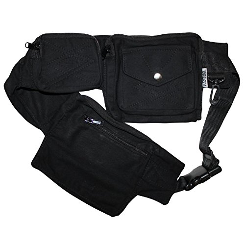 Freak Scene® Tasche ° Gürteltasche ° Jimi ° Bauchtasche ° Hüfttasche mit mehreren Taschen, alle Farben!!! Schwarz