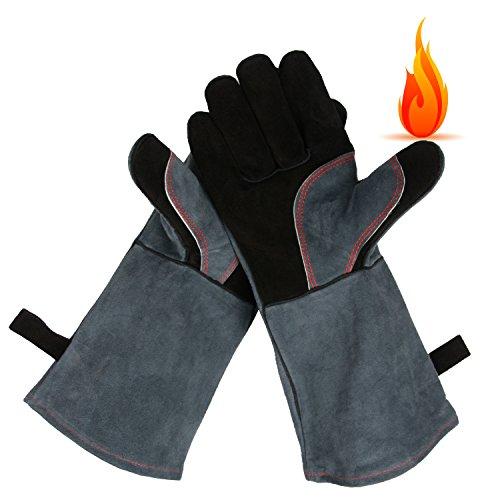 OZERO 662°F(350℃) Ultra Extreme Hitze Grill Handschuhe für Raucher, Backofen Kamin Kaminofen Pot-Halter Gartenarbeit & Outdoor Grill Schweißhandschuhe Leder BBQ Grillgloves (Grau und Schwarz) (Grill-hitze-handschuhe)