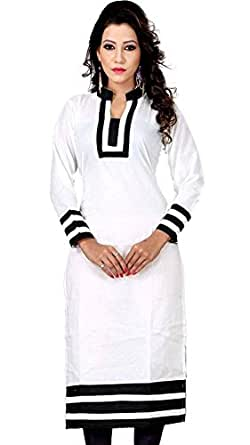 Varibha Women's Cotton Kurti (IOKU00005AAA_Pearl White_Free Size Altrable Till 42 or XL)
