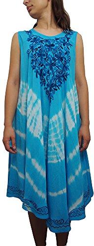 Damen Regenschirm Cut Einheitsgröße Blumendruck - Sleeveless Strand-Sommer Umstandskleid (Azure Blue) (Baby Blue Tie-dye)