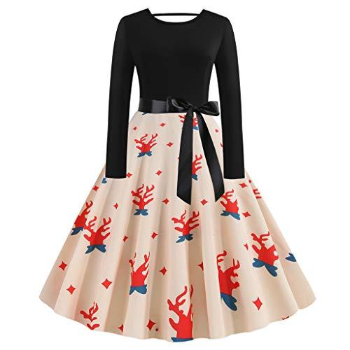 XINAINI Weihnachtskleid Damen - Pullover Cocktailkleid Elegant 3D Drucke Pullover Kleider Bow Gestreift Sexy Kleidung Weihnachtsmann Elch Schlitten Party Swing Festlich Kleid(S,Schwarz)