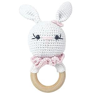 Häkel-Häschen – Häkel-Hase – Amigurumi Greifling – Rassel – Ring aus Holz – Babyrassel – Geschenk für Babys – Mädchen – rosa – Babyspielzeug