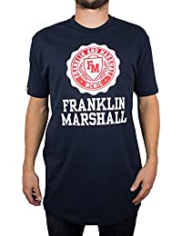 Franklin & Marshall Hombre Oversized Crew Neck T-Shirt, Azul