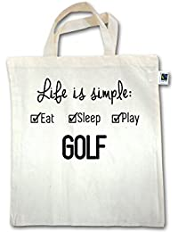 Golf - Life ist simple Golf - Unisize - Natural - XT500 - Fairtrade Henkeltasche / Jutebeutel mit kurzen Henkeln aus Bio-Baumwolle