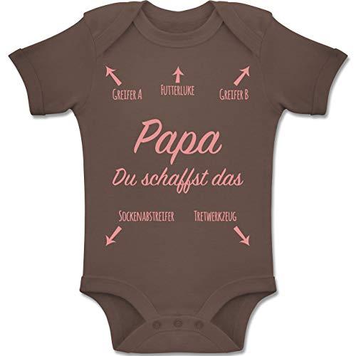 Shirtracer Strampler Motive - Papa du schaffst das Rosa - 3-6 Monate - Braun - BZ10 - Baby Body Kurzarm Jungen Mädchen
