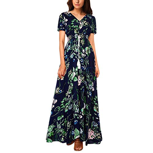 BOIYI 2019 Neue Frauen Bohemian Floral Bedruckte Baumwollkleid, Casual Button Up Kurzarm Split Flowy Party langes Kleid(Blue1,XL)