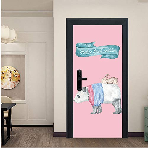 Preisvergleich Produktbild zhangshifa 3D Door Sticker Retro Old Wooden Door Station Bar Elevator Color Bear Ball Stairs Color Bricks Pulling Door Home Decor Paste