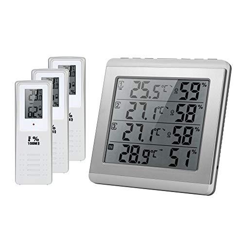 KKmoon Thermometer Hygrometer LCD Digital Wireless Indoor/Outdoor Vier-Kanal ℃ / ℉ Temperatur-Feuchtemessgerät mit 3 Outdoor-Transmitter Comfort Level