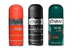 Jovan Combo Offer Deodorant Spray Black Musk+Musk+ Tropical Musk 150 Ml Each For men