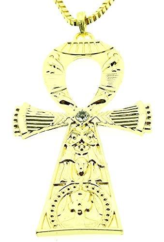 Lovelegis Kette für Frauen - Damen Halskette - Stichwort - Ägypten - Ankh - Groß - Hieroglyphen - Strass - Goldene Farbe