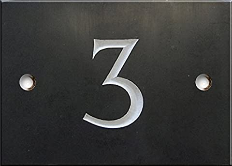 Engraved Slate House number sign - 1 to 99 (select your number here) - number 3 (Same Day Dispatch by 1st class