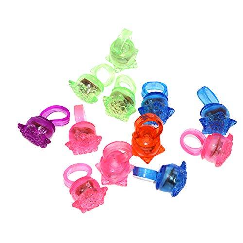 10Pcs Geburtstagsfeierbevorzugung für Kinder LED leuchten Ringe Preise für Kinder Klassenzimmer Glow In The Dark Party Supplies Groß Neuheit Glow Jelly Blinzeln Toy Ringe (zufällige Farben)