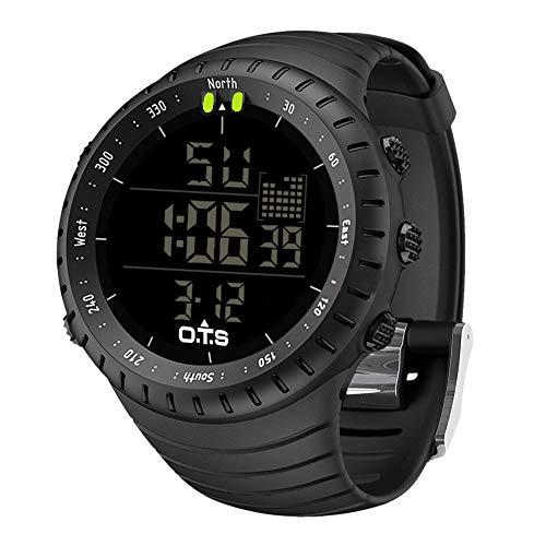 Palada Montre numérique pour homme Style sportif/militaire, mouvement à quartz, rétro-éclairage LED Noir