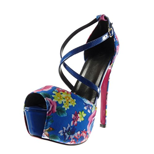 Della Stiletto Stiletto Cinghia Della Tallone Di Blu Piattaforma Pattino Donna 15 Dello Sandalo Scarpa Sexy Modo Fiori Angkorly Cm CqZwtzB
