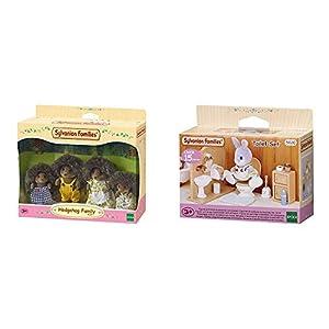 SYLVANIAN FAMILIES Hedgehog Family Mini muñecas y Accesorios,, 20.1 x 15.0 x 5.6 (Epoch para Imaginar 4018) + Toilet Set Mini muñecas y Accesorios, (Epoch para Imaginar 3563)