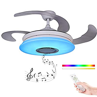 Modern Retractable Blades Ceiling Fan with Light and Remote 36W, Ceiling lamp Dimmable with Bluetooth Speaker Music Ceiling Light, Foldable Chandelier Fan [AC220V, A ++]