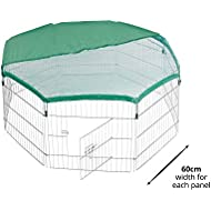 Milo & Misty Playpen for Dogs Puppies Rabbits Guinea Pigs. Folding and Portable, 8 Steel Panel with Door and Safety Net
