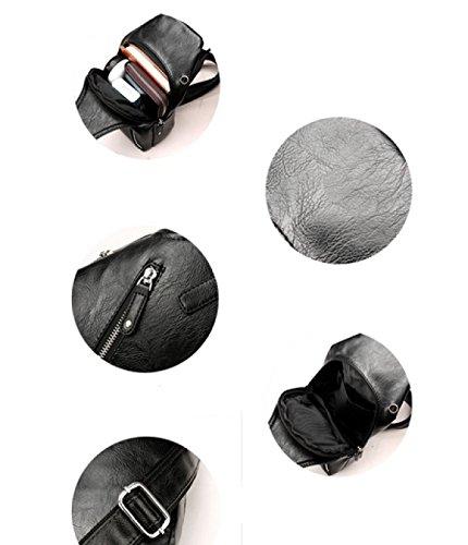 LAIDAYE Männer Schulter Diagonale Kreuz Freizeit PU Outdoor Radfahren Rucksack Business-Paket Schultertasche Brust Tasche 2
