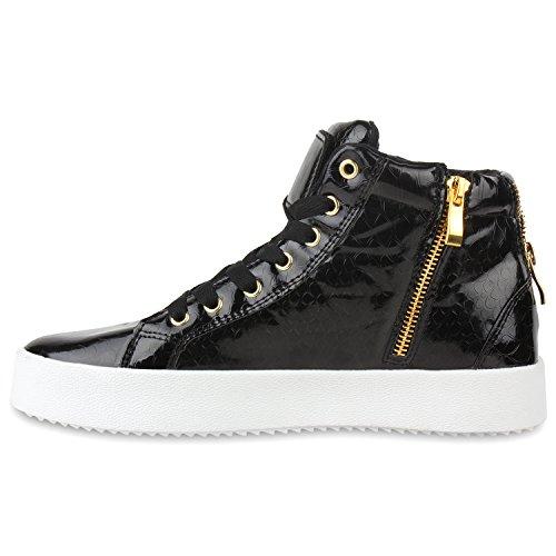 Damen Sneakers High Lack Turnschuhe Zipper Weiße Sohle Schwarz