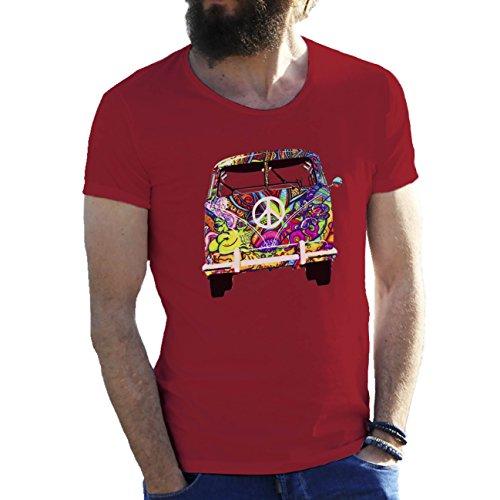 Woodstock VW T1 Weed 1969 Hippie Herren T-Shirt Wein rot