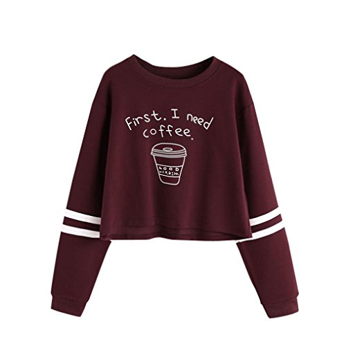 Pullover Damen hoodie mädchen coole cafe pullover E Rot M