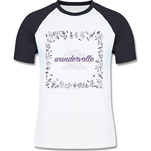 Statement Shirts - Inspirierende Zitate - Du kannst wundervolle Dinge - zweifarbiges Baseballshirt für Männer Weiß/Navy Blau