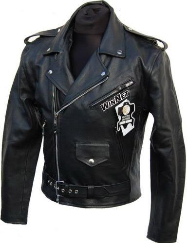WinNet Giacca chiodo vintage da moto custom in pelle, Taglia: L
