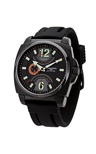 Mens JG1040-18 Stainless Steel Watch Black Dial Rubber Strap - Jorg Gray