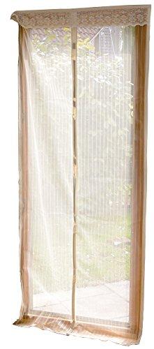 infactory Insektenvorhang: Selbstschließendes Premium-Fliegennetz für Türen, beige (Insektengitter) (Weißen Mit Hund Terrasse Tür, Großen)