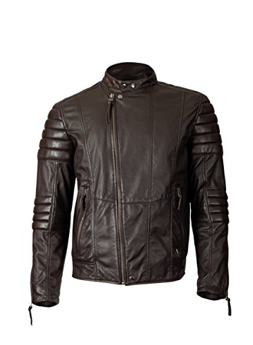 KAVACi Indianapolis-Biker Fahsion Long Sleeve Round Neck Leather Jacket_Brown